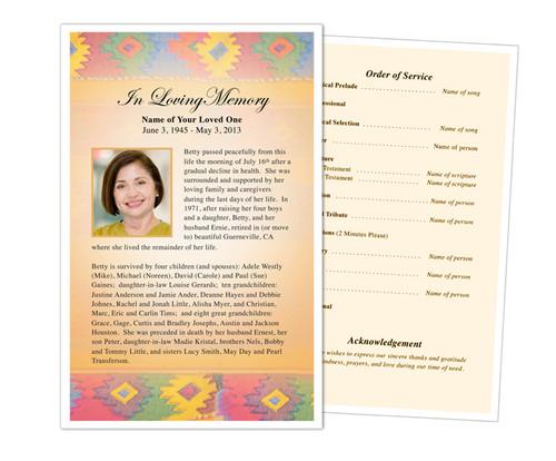 De Colores Funeral Flyer Half Sheets Template