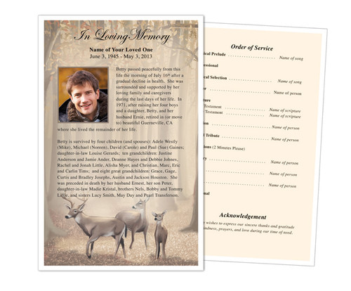 Deer Funeral Flyer Half Sheets Template