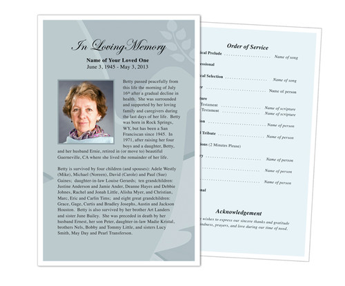 Dove Funeral Flyer Half Sheets Template