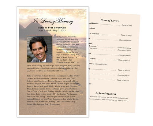 Footprints Funeral Flyer Half Sheets Template