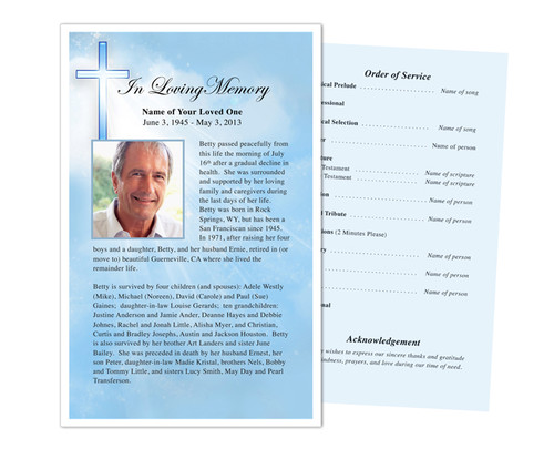 Heaven Funeral Flyer Half Sheets Template