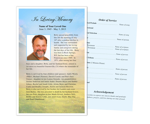 Horizon Funeral Flyer Half Sheets Template