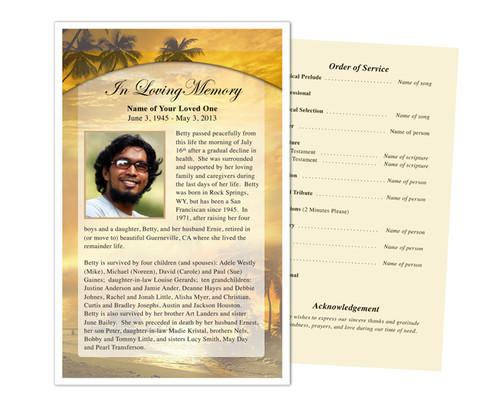 Island Funeral Flyer Half Sheets Template