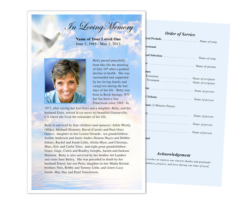 Peace Funeral Flyer Half Sheets Template
