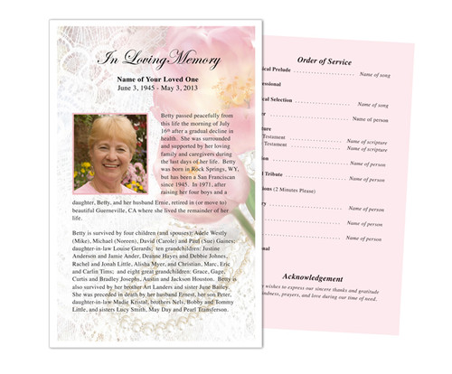 Pearls Funeral Flyer Half Sheets Template