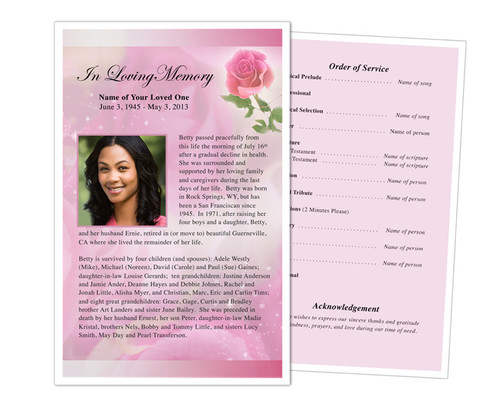 Petals Funeral Flyer Half Sheets Template
