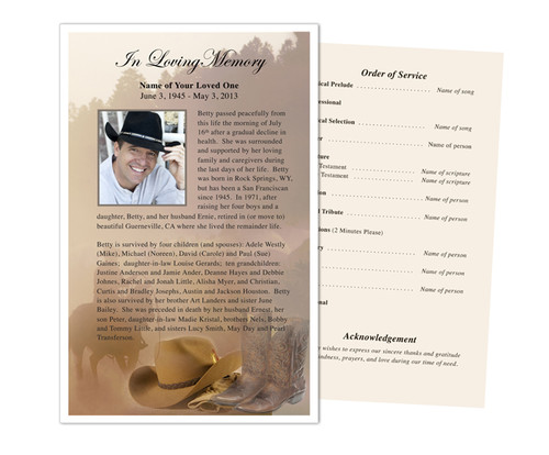Ranch Funeral Flyer Half Sheets Template