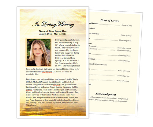 Shine Funeral Flyer Half Sheets Template