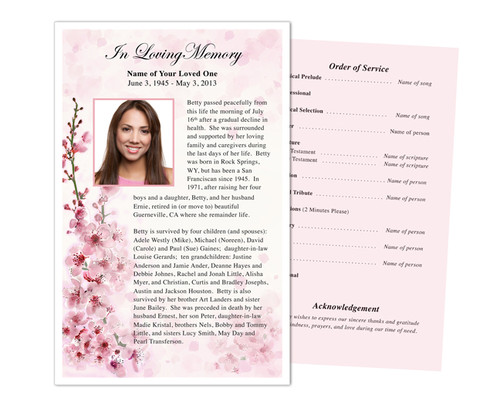 Spring Funeral Flyer Half Sheets Template