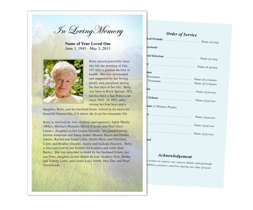 Tranquil Funeral Flyer Half Sheets Template