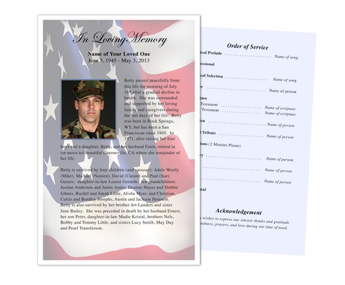 U.S. Flag Funeral Flyer Half Sheets Template