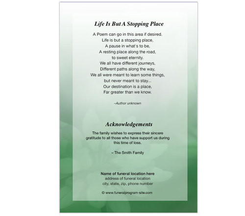 ambrosia letter 4 sided graduated funeral program template back view