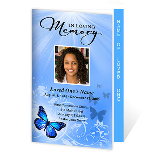 Butterfly Letter 4-Sided Graduated Funeral Program Template