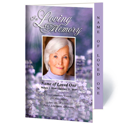 Lilac Letter 4-Sided Graduated Funeral Program Template