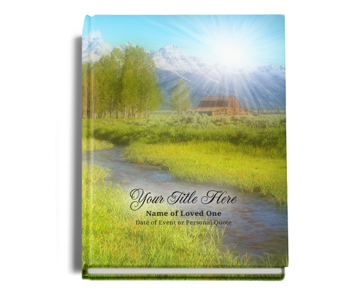 Tranquil Perfect Bind Funeral Guest Book Sign-In 8x10