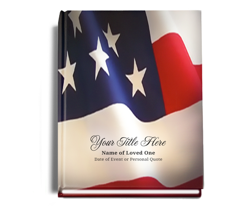 US Flag Perfect Bind 8x10 Memorial Funeral Sign In Book