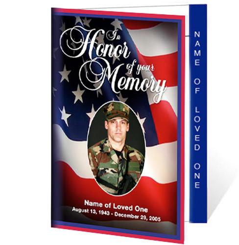 US Flag Letter 4-Sided Funeral Graduated Program