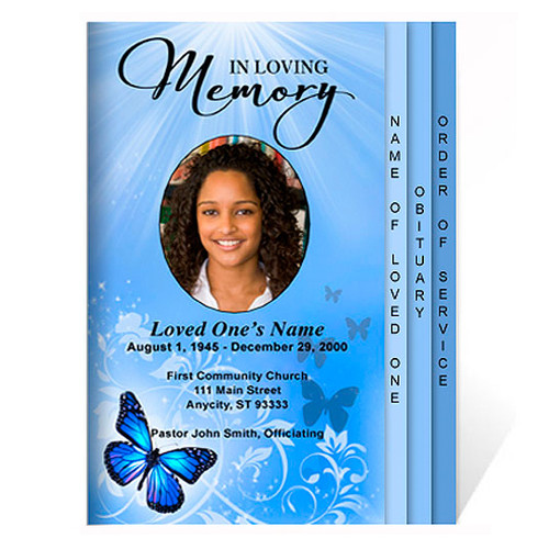 Butterfly 8-Side Graduated Funeral Program Template