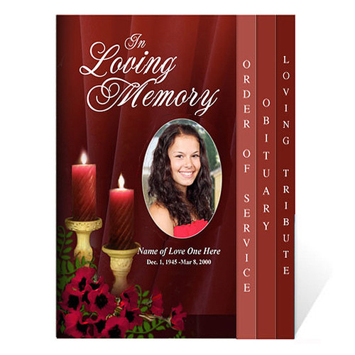 Candlelight 8-Side Graduated Funeral Program Template