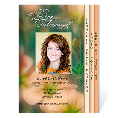 Floral 8-Sided Graduated Funeral Program Template