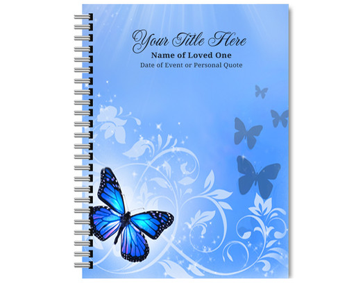 Butterfly Spiral Wire Bind Memorial Guest Book