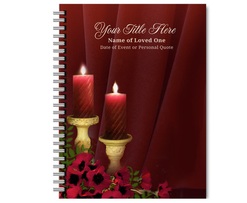 Candlelight Spiral Wire Bind Memorial Guest Book