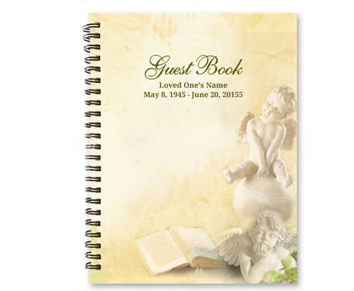 Cherub Spiral Wire Bind Memorial Guest Book