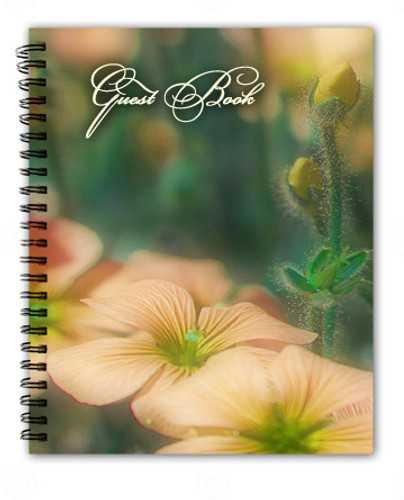 Floral Spiral Wire Bind Memorial Guest Book Registry