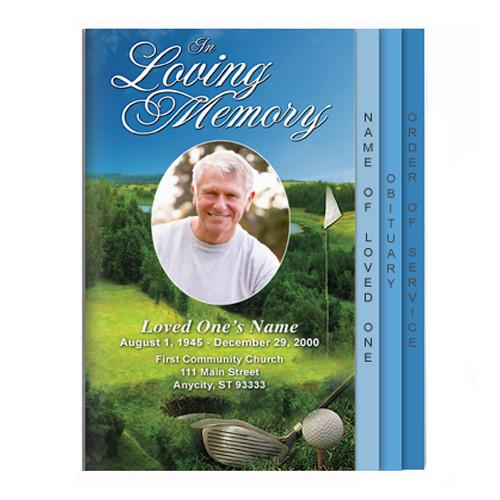 Golfer 8-Sided Graduated Funeral Program Template