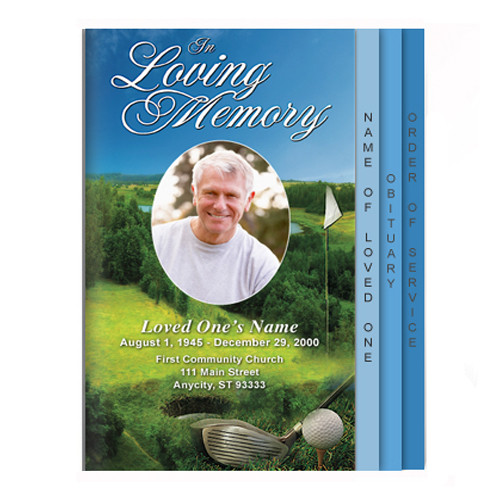 Golfer 8-Sided Graduated Funeral Program Template