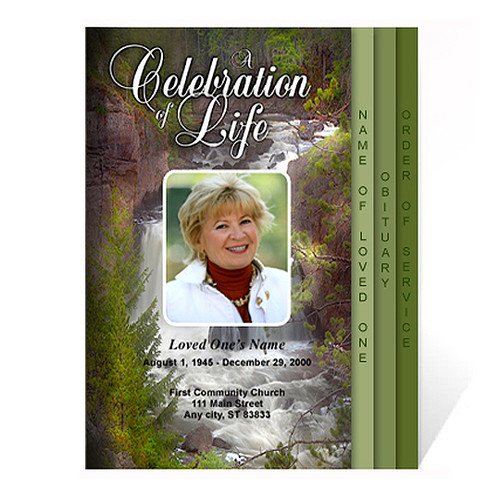 Graceful 8-Sided Graduated Funeral Program Template