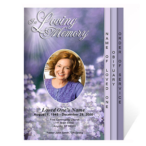 Lilac 8-Sided Graduated Funeral Program Template