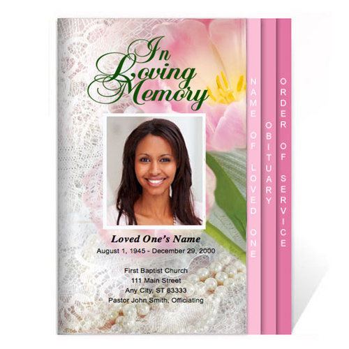 Pearls DIY 8-Sided Funeral Graduated Program Template