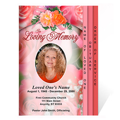 Rosy 8-Sided Graduated Funeral Program Template