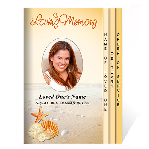 Seashore 8-Sided Graduated Funeral Program Template