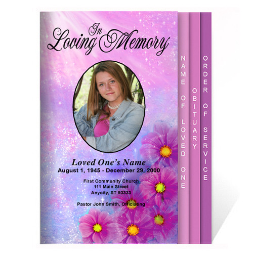 Sparkle 8-Sided Graduated Funeral Program Template