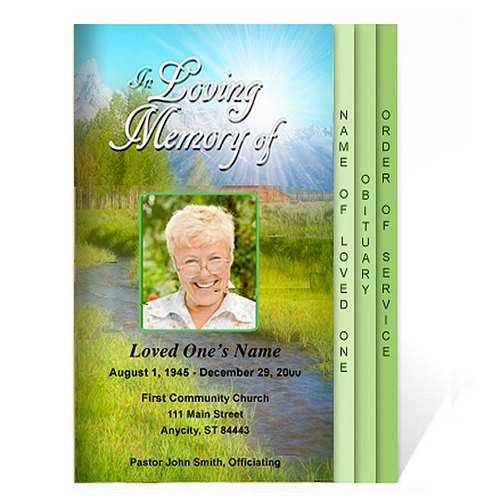 Tranquil 8-Sided Graduated Funeral Program Template