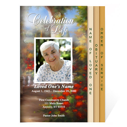 Tuscany 8-Sided Graduated Funeral Program Template
