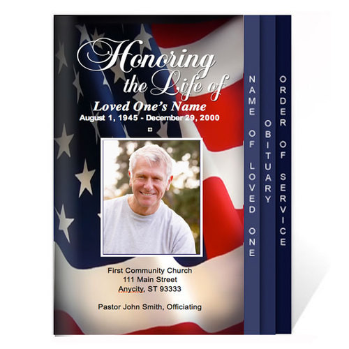 US Flag 8-Sided Graduated Funeral Program Template
