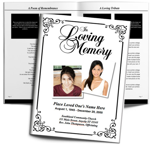 Cadence Large Funeral Booklet Template (Tabloid Size)