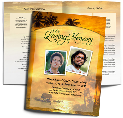 DIY Island Large Tabloid Funeral Booklet Template