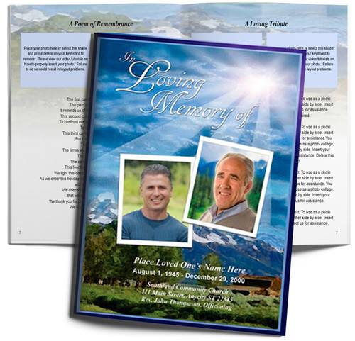 Outdoor DIY Large Tabloid Funeral Booklet Template