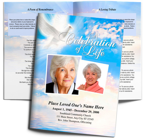Peace DIY Large Tabloid Funeral Booklet Template
