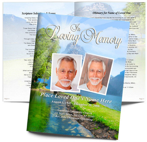 Reflection DIY Large Tabloid Funeral Booklet Template
