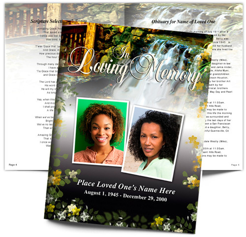 Serene DIY Large Tabloid Funeral Booklet Template