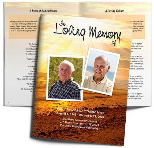 Shine DIY Large Tabloid Funeral Booklet Template