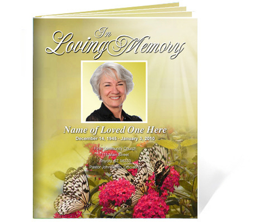 Bouquet DIY Large Tabloid Funeral Booklet Template