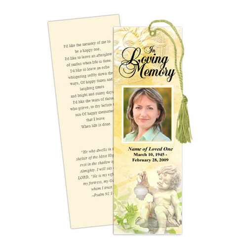 Cherub Memorial Bookmark Template