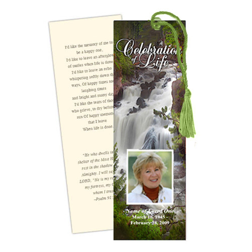 Graceful DIY Funeral Memorial Bookmark Template