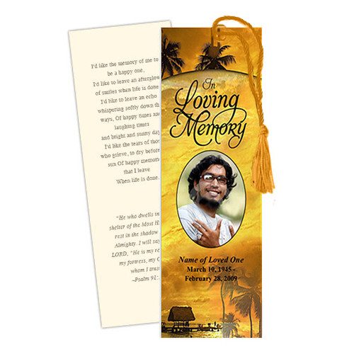 Island DIY Funeral Memorial Bookmark Template